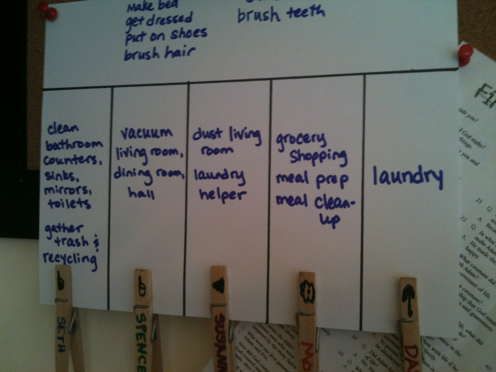 Back to school routines: chore chart